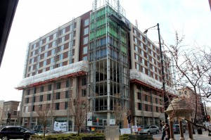 The Hyatt Place Hotel in Downtown Champaign is just about finished- a miracle for the CU area.